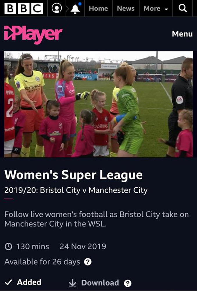 Bristol City Women v Manchester City Women - BBC iPlayer